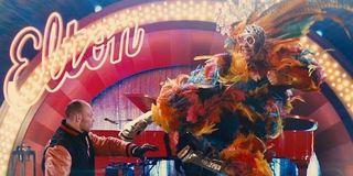 Elton John kicking in Kingsman 2
