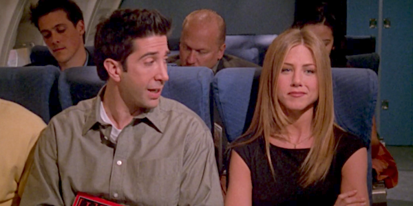 ross and rachel on a plane friends