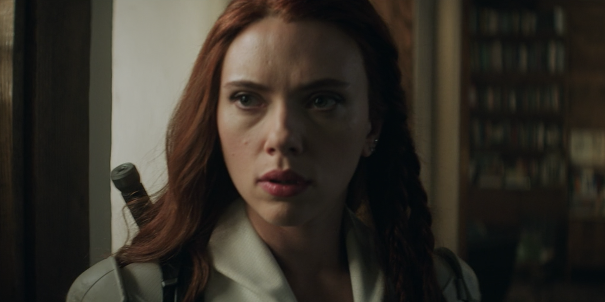 Black Widow in her white suit