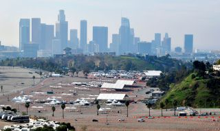 A COVID-19 vaccination site at Dodger Stadium in Los Angeles, California on February 11, 2021