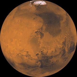 Mars as seen by NASA's Viking 1 orbiter.