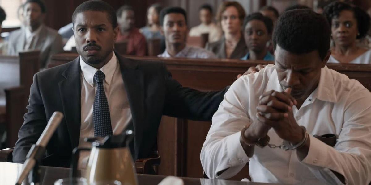 Just Mercy Michael B. Jordan comforts Jamie Foxx in the courtroom