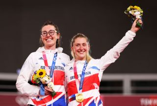 Katie Archibald and Laura Kenny celebrate their Madison gold medal