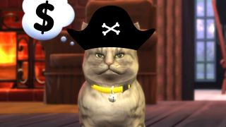 A photo illustration of a pirate Sims cat.