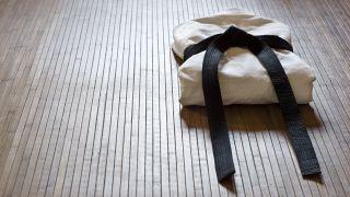 Judo Gi on a wooden floor
