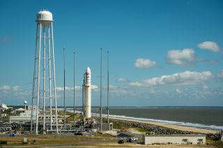 The Orbital Sciences Corporation Antares rocket, with its Cygnus cargo spacecraft aboard, is seen on the Mid-Atlantic Regional Spaceport (MARS) Pad-0A at the NASA Wallops Flight Facility, Tuesday, Sept. 17, 2013 on Wallops Island, Virginia.