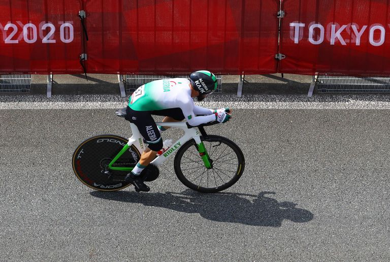 Azzedine Lagab riding for Algeria at the Tokyo 2020 Olympic individual time trial
