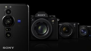 The Sony Xperia Pro-I smartphone next to a row of Sony cameras
