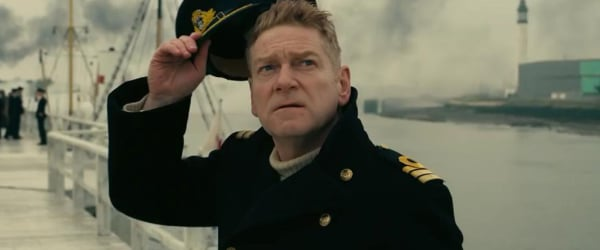 Dunkirk Kenneth Branagh looks up at the incoming air attack from the docks