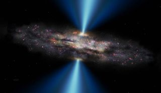 A cloud of dust blocks the bright light coming from the center of this black hole in the middle of a Seyfert galaxy.