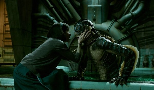 The Shape of Water Sally Hawkins Doug Jones Eliza caresses the creature