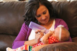 Danielle Hargraves with her baby, thanks to the new surgical procedure.