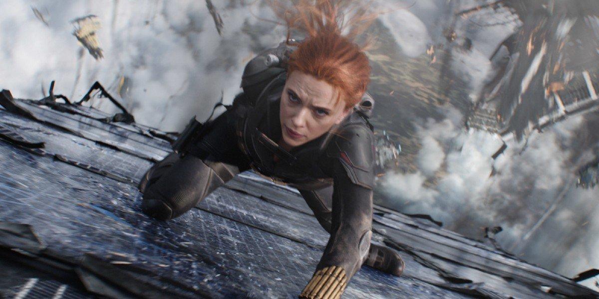 Natasha Romanoff/Black Widow (Scarlett Johansson) is ready for battle in Black Widow (2021)