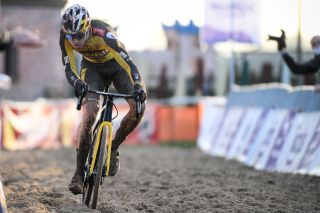 Belgian Wout Van Aert pictured in action during the mens elite race of the Belgian national championships cyclocross Sunday 10 January 2021 in Meulebeke BELGA PHOTO DAVID STOCKMAN Photo by DAVID STOCKMANBELGA MAGAFP via Getty Images