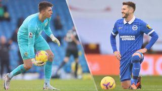 Burnley vs Brighton & Hove Albion live stream Premier League — Nick Pope of Burnley and and Adam Lallana of Brighton