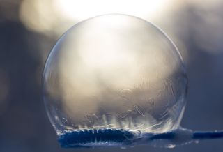 Even soapy bubbles will freeze when it's cold enough outside.