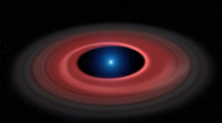 This illustration shows a ring of dust particles and debris orbiting the burnt-out stellar core called a white dwarf.