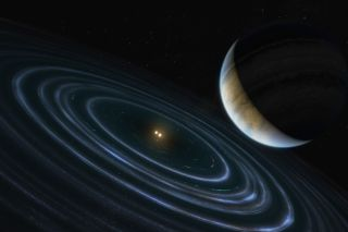 Artist's illustration of the exoplanet HD 106906 b located a great distance away from its central binary star and the disk of dusty material that surrounds it.
