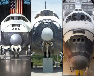 Space shuttle prototype Enterprise (at left), the replica Explorer (at center), and flown Endeavour are moving toward museums.