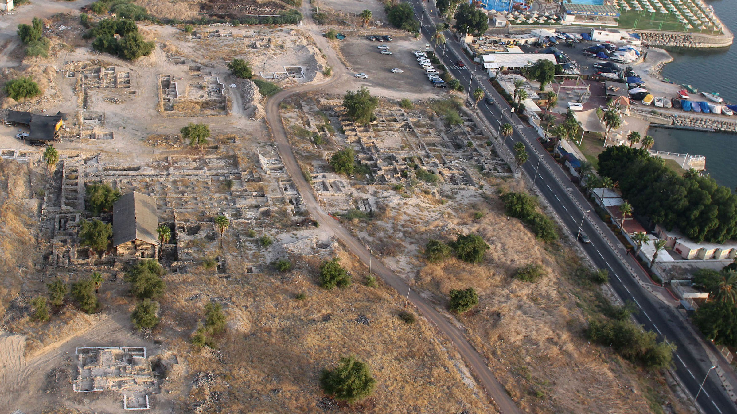 An aerial photo of the site looking northeast