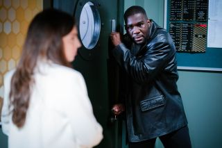 Isaac Baptiste confronts Ruby Fowler in EastEnders