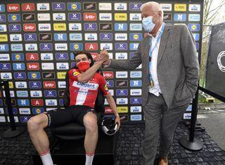 Ronde van Vlaanderen 2021 - Tour of Flanders - 105th Edition - Antwerp - Oudenaarde 263,7 km - 04/04/2021 - Kasper Asgreen (DEN - Deceuninck - Quick-Step) - Patrick Lefevere (BEL - General Manager - Deceuninck - Quick-Step) - photo Nico Vereecken/PN/BettiniPhoto©2021