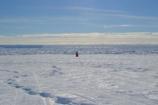 Researcher standing alone on an ice shelf at the south pole