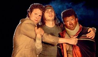 Pineapple Express Seth Rogen, James Franco, and Danny McBride hug for warmth