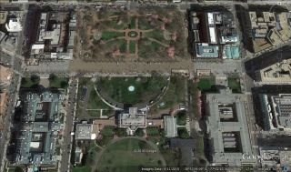 Lafayette Square (also called Lafayette Park) is located just north of the White House on Pennsylvania Avenue. Satellite imagery was vital to discovering the solstice alignments.