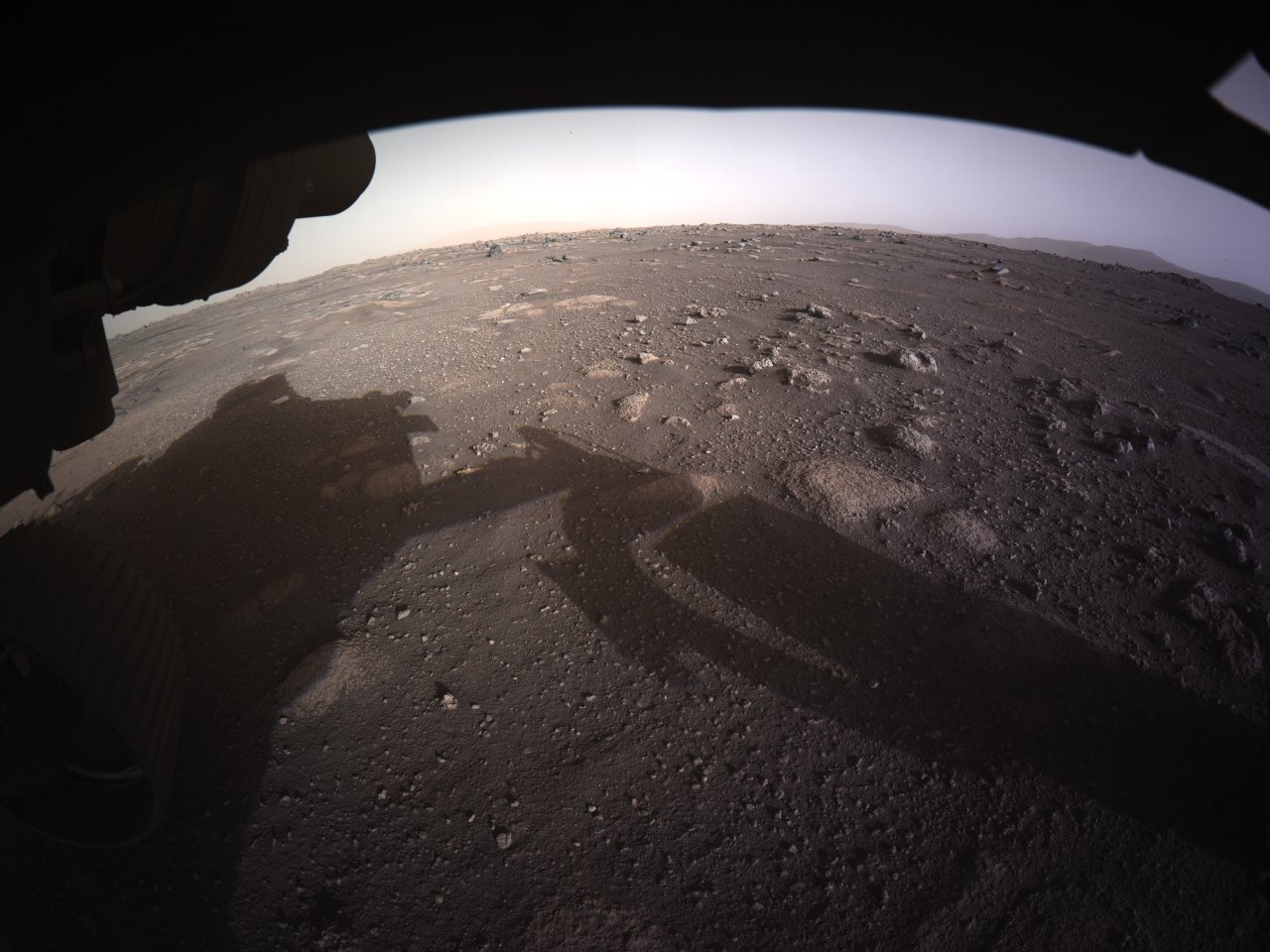 This is the first color image that NASA's Perseverance rover returned from the surface of Mars.