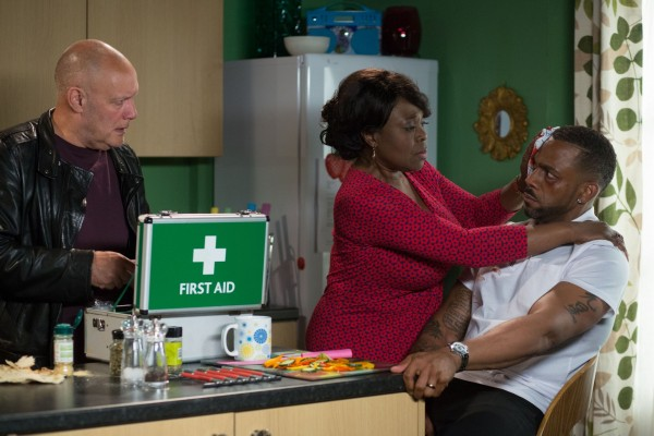 Ellen Thomas and Richard Blackwood as Claudette and Vincent Hubbard in EastEnders