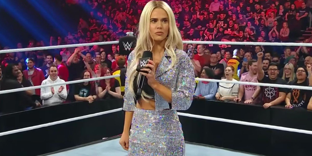 Lana looking shocked in the ring WWE