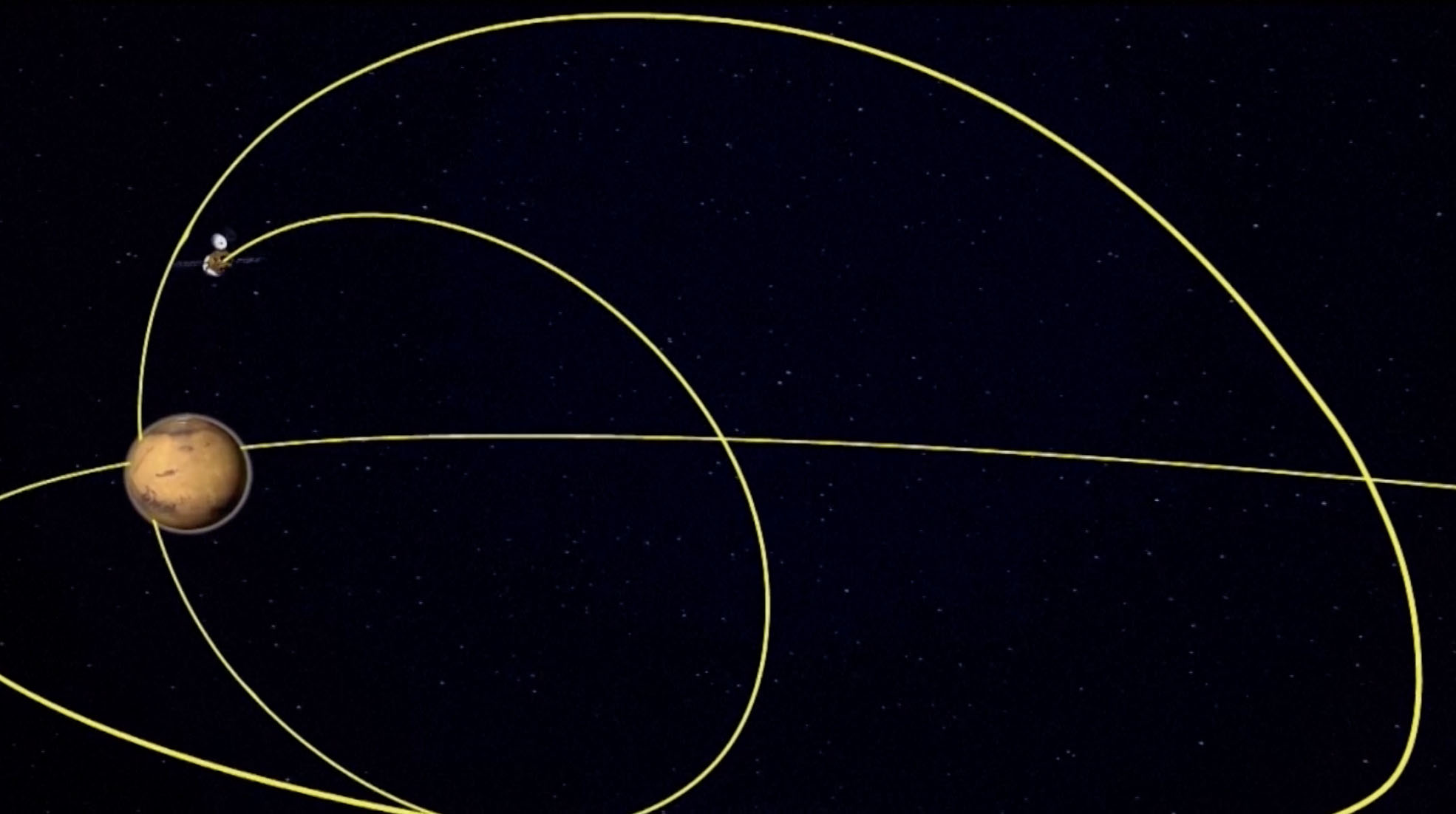 China's Tianwen-1 Mars mission enters orbit around the Red Planet in this still from a video animation. Tianwen-1, China's first Mars mission, arrived at Mars on Feb. 10, 2021.