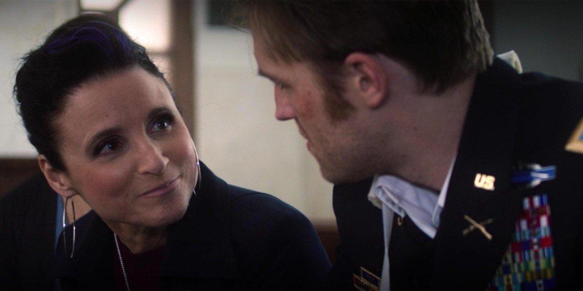 Contessa Valentina Allegra de Fontaine (Julia Louis-Dreyfus) talks to John Walker (Wyatt Russell)