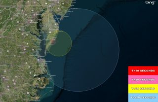 Three suborbital rockets are scheduled to launch from the Wallops Flight Facility in the early morning hours of Tuesday, Feb. 24. The rockets may be visible from parts of the east coast. This map shows the visibility regions based on time after launch.