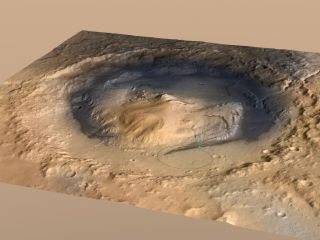 The mound called Mount Sharp in Gale Crater on Mars.