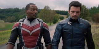 Anthony Mackie as Sam Wilson/The Falcon and Sebastian Stan as Bucky Barnes in The Falcon and the Winter Soldier (2021)