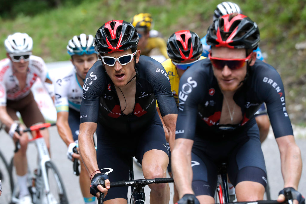LES GETS FRANCE JUNE 06 Geraint Thomas of The United Kingdom and Team INEOS Grenadiers during the 73rd Critrium du Dauphin 2021 Stage 8 a 147km stage from La LchreLesBains to Les Gets 1160m UCIworldtour Dauphin dauphine on June 06 2021 in Les Gets France Photo by Bas CzerwinskiGetty Images