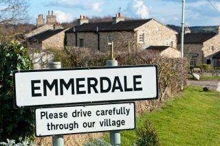 Emmerdale logo sign outside village