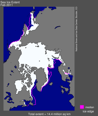 Arctic sea ice extent for February 2011.