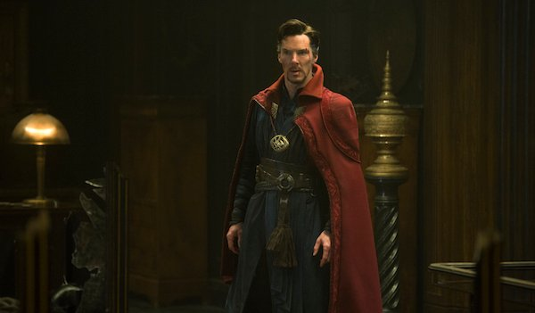 Doctor Strange wearing cloak and eye of Agamotto