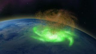 Artist's concept of a space hurricane, pouring plasma high over the North Pole.