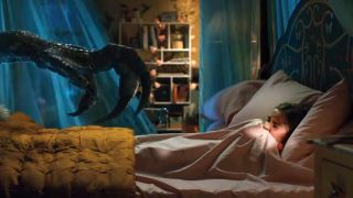 A raptor goes bump in the night in Jurassic World: Fallen Kingdom.