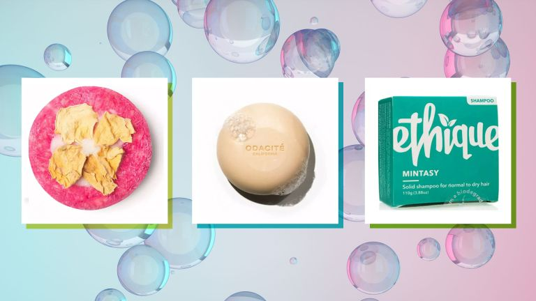 Best shampoo bars, pictured from left to right Lush, Odacite and Ethique in mint