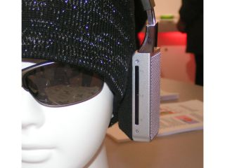 A pair of prototype fuel cell-powered headphones from Toshiba