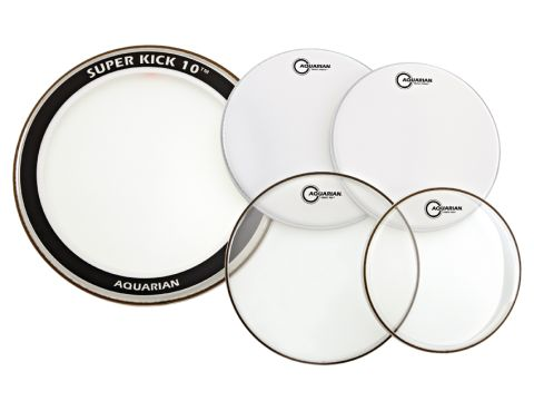 The Super Kick 10 bass drum head has a felt muffle ring mounted on the shell side of the head.