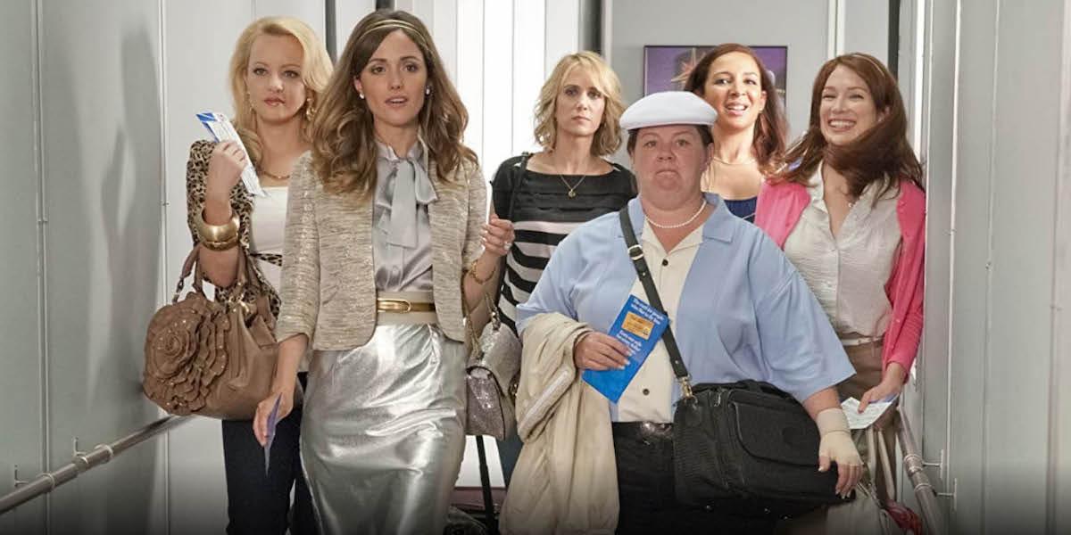 The Bridesmaids cast boarding a plane, Kristen Wiig, Melissa McCarthy, Rose Bryne, Ellie Kemper, Maya Rudolph