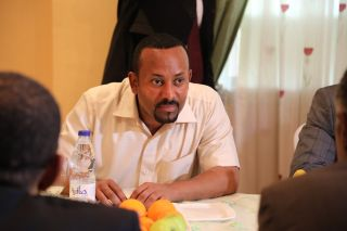 Ethiopia's Prime Minister Abiy Ahmed Ali, who won the 2019 Nobel Peace Prize, speaks during mediating talks with a delegation of the Alliance of Freedom and Change, after ruling military council intervened the pro-democracy demonstrators that left more than 100 people dead, at the Ethiopian Embassy in Khartoum, Sudan, on June 7, 2019.