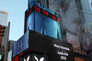 """Video artist Marco Brambilla's """"Apollo XVIII"""" will count down to a Saturn V launch every night in March in Times Square."""