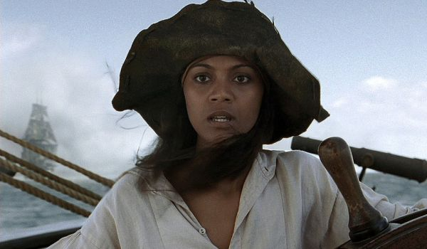 Zoe Saldana as Ana Maria piloting the Black Pearl in Pirates of the Caribbean